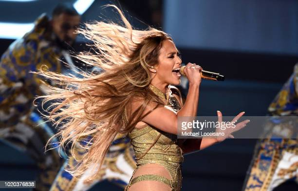 Jennifer Lopez performs onstage during the 2018 MTV Video Music Awards at Radio City Music Hall on August 20 2018 in New York City
