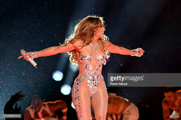 Jennifer Lopez performs onstage during the Pepsi Super Bowl LIV Halftime Show at Hard Rock Stadium on February 02 2020 in Miami Florida