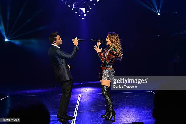 Jennifer Lopez performs with Prince Royce at her headlining residency show JENNIFER LOPEZ ALL I HAVE at Caesars Palace on January 22 2016 in Las...
