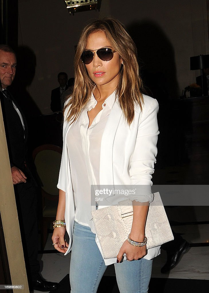 Jennifer Lopez pictured leaving her hotel on May 30, 2013 in London, England.