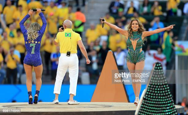 Jennifer Lopez Pitbull and Claudia Leitte perform during the opening ceremony at the Arena Corinthians in the build up for the opening match of the...