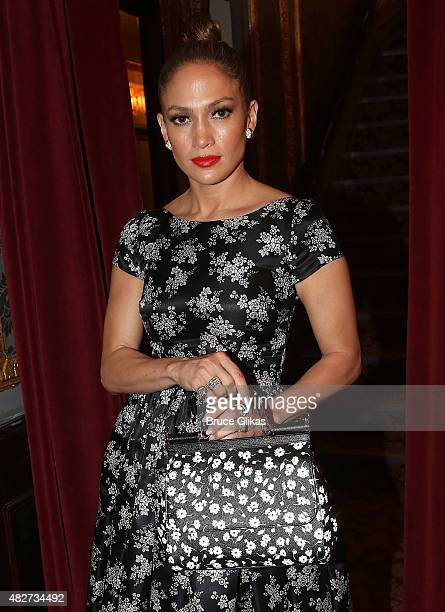 Jennifer Lopez poses backstage at the hit new musical Hamilton on Broadway at The Richard Rogers Theater on August 1 2015 in New York City
