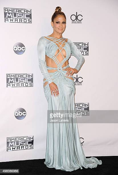 Jennifer Lopez poses in the press room at the 2015 American Music Awards at Microsoft Theater on November 22 2015 in Los Angeles California