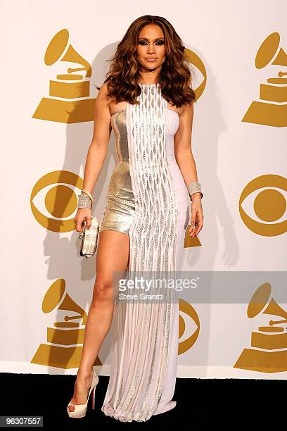 Jennifer Lopez poses in the press room at the 52nd Annual GRAMMY Awards held at Staples Center on January 31 2010 in Los Angeles California