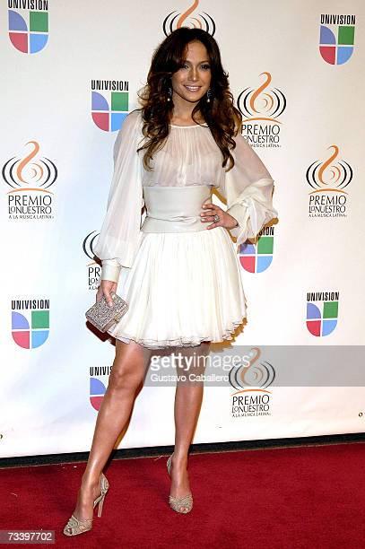 Jennifer Lopez poses on the red carpet before The Premio lo Nuestro a La Musica Latina Awards show on February 22 2007 in Miami Florida