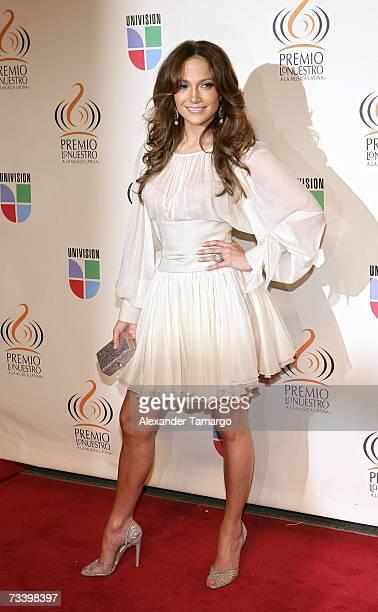 Jennifer Lopez poses on the red carpet before Univision's Premio lo Nuestro Awards show on February 22 2007 in Miami Florida