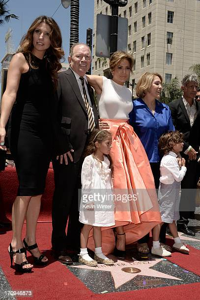 HOLLYWOOD CA Jennifer Lopez poses with her sister Lynda Lopez father David Lopez mother Guadalupe Lopez daughter Emme Maribel and son Maximilian...