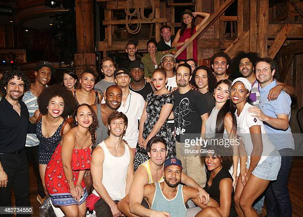 Jennifer Lopez poses with the cast backstage at the hit new musical Hamilton on Broadway at The Richard Rogers Theater on August 1 2015 in New York...