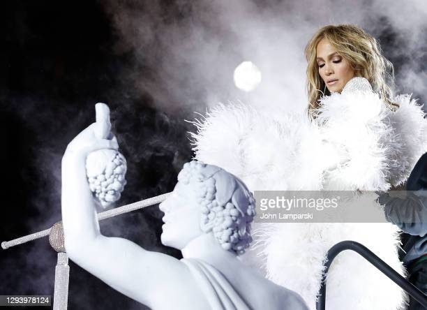 Jennifer Lopez prepares for her performance during New Years Eve in Times Square on December 31, 2020 in New York City.