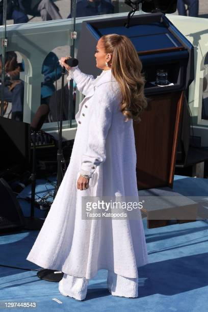Jennifer Lopez prepares to sing during the inauguration of U.S. President-elect Joe Biden on the West Front of the U.S. Capitol on January 20, 2021...