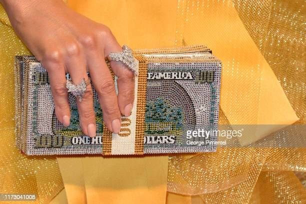 Jennifer Lopez purse detail attends the Hustlers premiere during the 2019 Toronto International Film Festival at Roy Thomson Hall on September 07...
