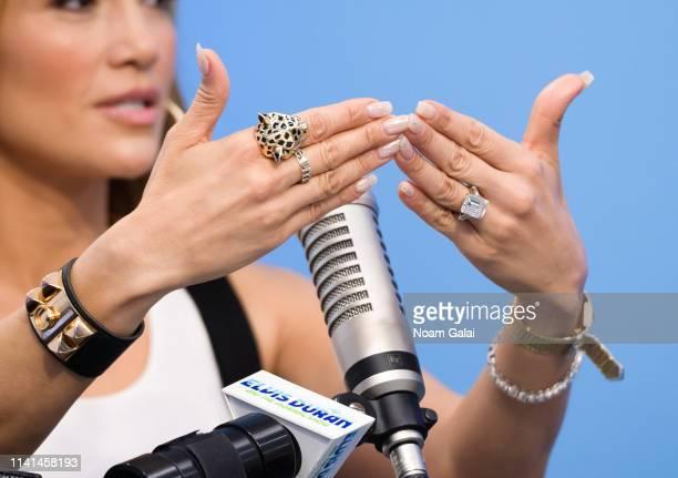 "Jennifer Lopez, ring detail, visits ""The Elvis Duran Z100 Morning Show"" at the Z100 Studio on April 09, 2019 in New York City."