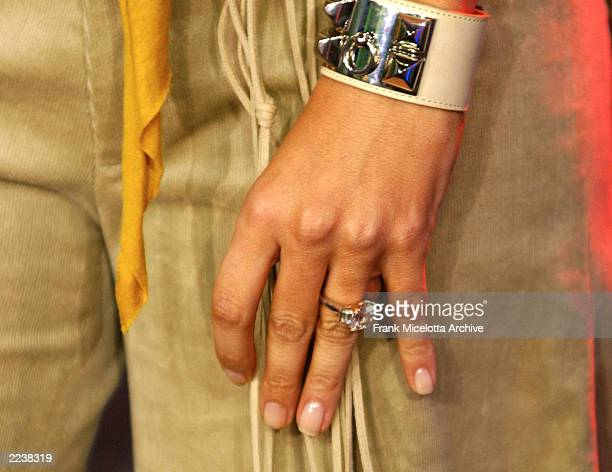 Jennifer Lopez' ring during her appearance on MTV's Spankin New Music Week on TRL in the MTV Times Square Studio in New York City November 5 2002...