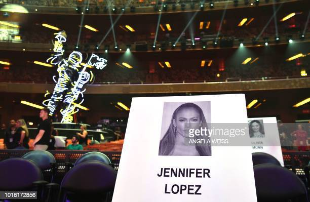 Jennifer Lopez' seat card is seen during the 2018 2018 MTV Video Music Awards press junket at Radio City Music Hall in New York on August 17 2018 The...
