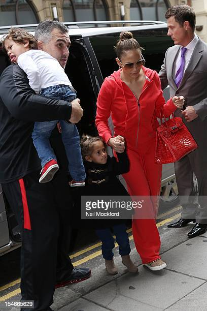 Jennifer Lopez seen arriving at Harrods with her children on October 24 2012 in London England