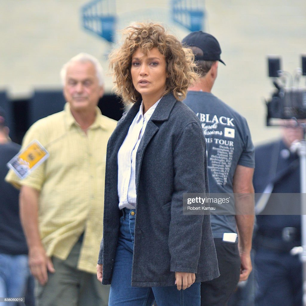 Jennifer Lopez seen at a 'Shades of Blue' film set in Queens on August 23, 2017 in New York City.