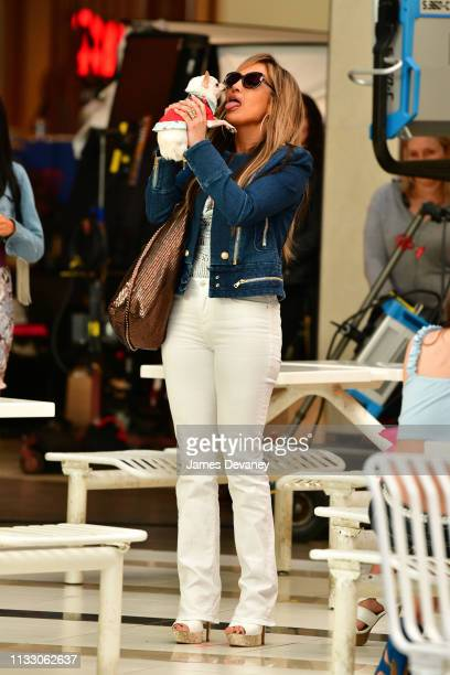Jennifer Lopez seen filming on location for 'Hustlers' at Palisades Center on March 26, 2019 in West Nyack, New York.