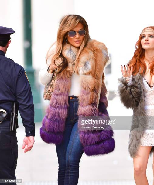 Jennifer Lopez seen filming on location for Hustlers in Manhattan on April 1 2019 in New York City