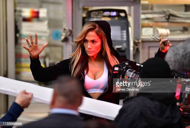 Jennifer Lopez seen filming on location for 'Hustlers' in SoHo on March 29 2019 in New York City
