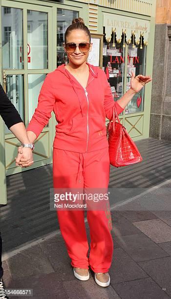 Jennifer Lopez seen leaving the Ladurée shop at Harrods on October 24 2012 in London England