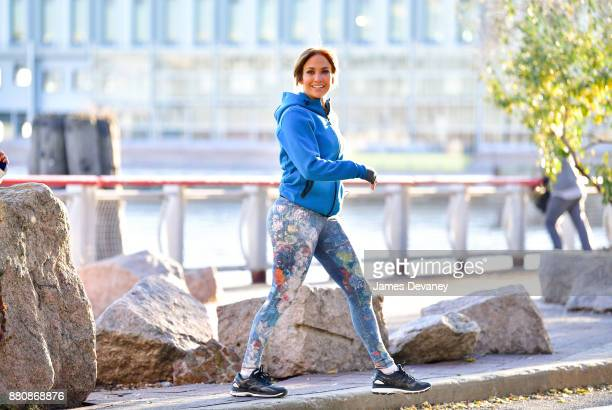 Jennifer Lopez seen on location for 'Second Act' at South Street Seaport on November 27 2017 in New York City