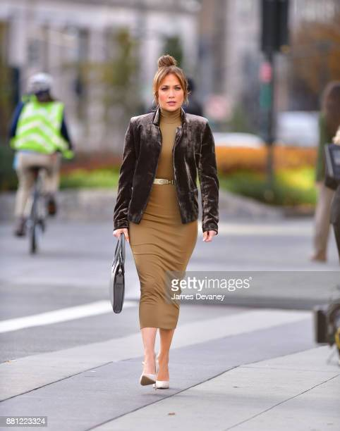 Jennifer Lopez seen on location for 'Second Act' at the World Trade Center on November 28 2017 in New York City