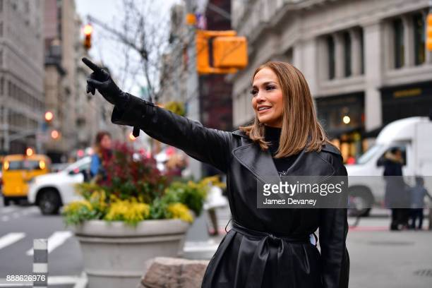 Jennifer Lopez seen on location for 'Second Act' in the Flatiron District on December 8 2017 in New York City