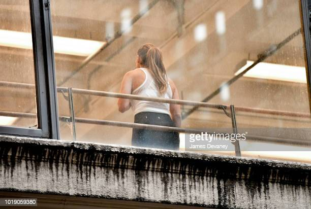 Jennifer Lopez seen rehearsing for MTV VMA's at a Midtown Manhattan dance studio on August 3 2018 in New York City