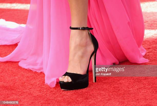 Jennifer Lopez shoe detail attends the 2018 American Music Awards at Microsoft Theater on October 9 2018 in Los Angeles California