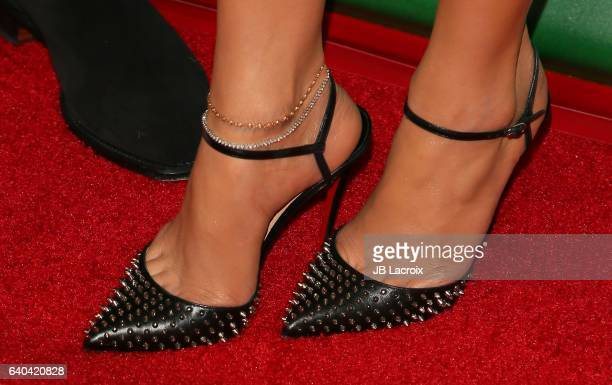 Jennifer Lopez shoe details attends the 2017 NBCUniversal Winter Press Tour Day 2 at Langham Hotel on January 18 2017 in Pasadena California