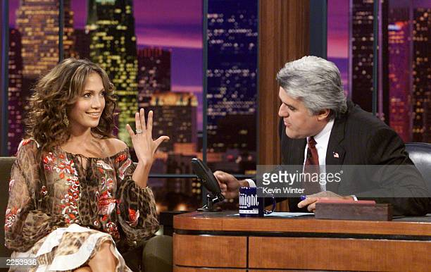 Jennifer Lopez shows off her wedding ring on The Tonight Show with Jay Leno at the NBC Studios in Los Angeles Ca Monday November 19 2001 Photo by...