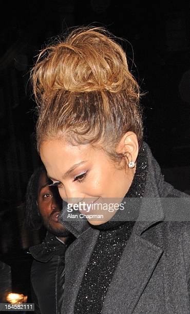 Jennifer Lopez sighting at Claridges Hotel on October 22 2012 in London England