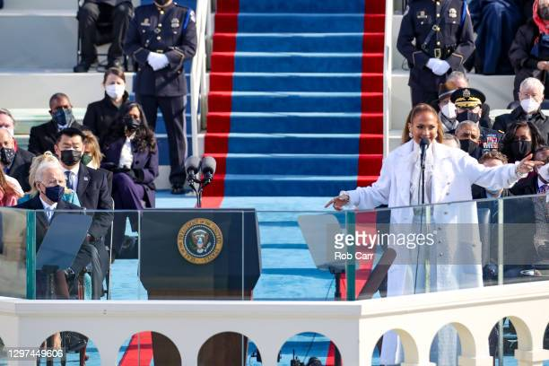 Jennifer Lopez sing during the inauguration of U.S. President-elect Joe Biden on the West Front of the U.S. Capitol on January 20, 2021 in...