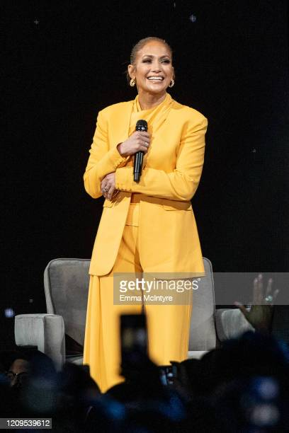Jennifer Lopez speaks onstage during 'Oprah's 2020 Vision: Your Life in Focus Tour' presented by WW at The Forum on February 29, 2020 in Inglewood,...