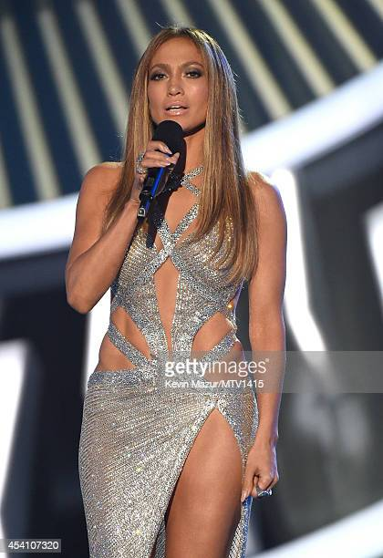 Jennifer Lopez speaks onstage during the 2014 MTV Video Music Awards at The Forum on August 24, 2014 in Inglewood, California.