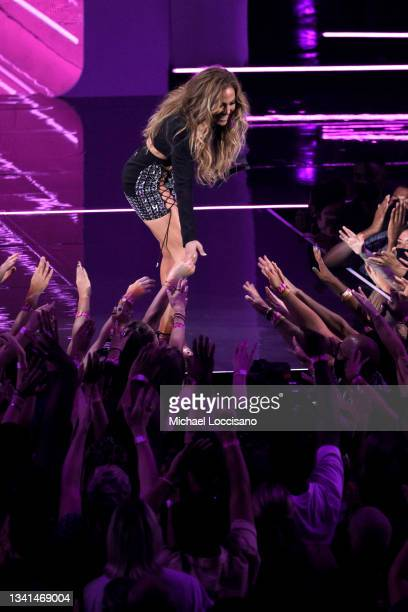 Jennifer Lopez speaks onstage during the 2021 MTV Video Music Awards at Barclays Center on September 12, 2021 in the Brooklyn borough of New York...