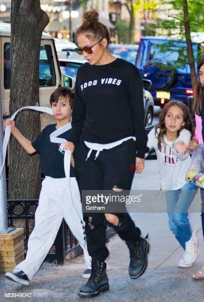 Jennifer Lopez takes twins Max and Emme to Cipriani for dinner on May 16 2017 in New York City