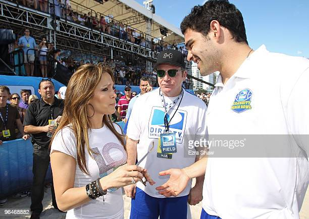 Jennifer Lopez Tom Arnold and Mark Sanchez attend the Fourth Annual DIRECTV Celebrity Beach Bowl at DIRECTV Celebrity Beach Bowl Stadium South Beach...