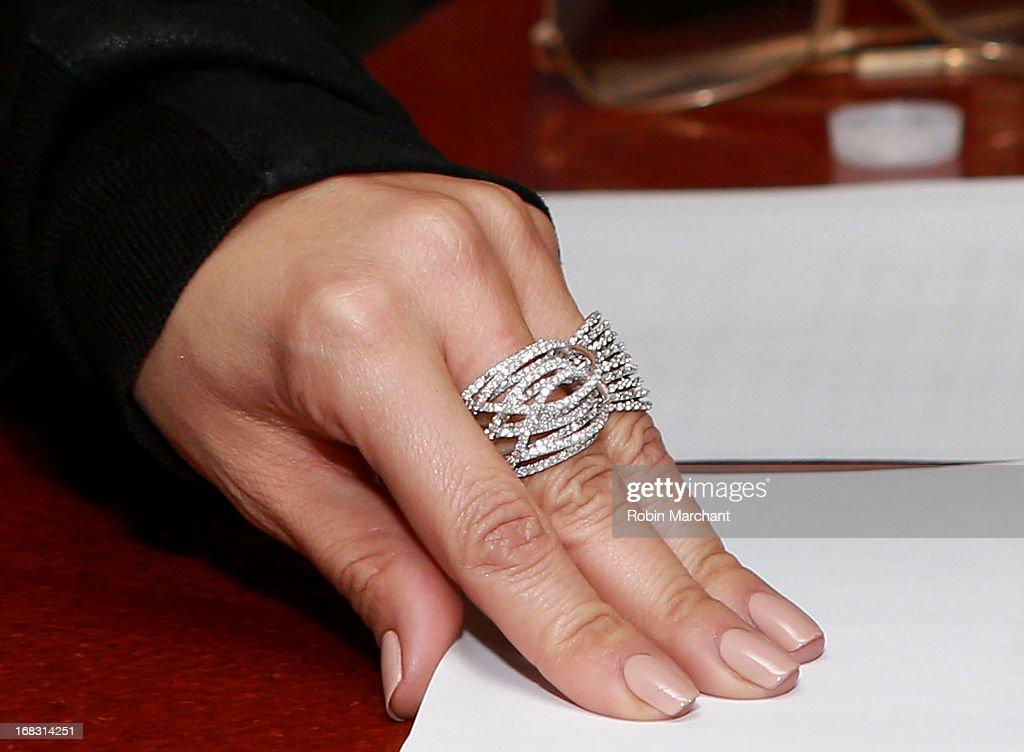 Jennifer Lopez (ring detail) visits at SiriusXM Studios on May 8, 2013 in New York City.