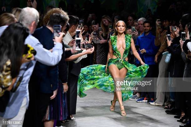 Jennifer Lopez walks the runway at the Versace Ready to Wear fashion show during the Milan Fashion Week Spring/Summer 2020 on September 20 2019 in...