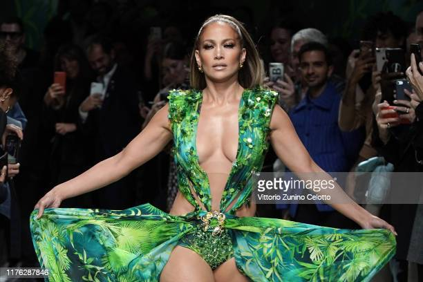 Jennifer Lopez walks the runway at the Versace show during the Milan Fashion Week Spring/Summer 2020 on September 20 2019 in Milan Italy
