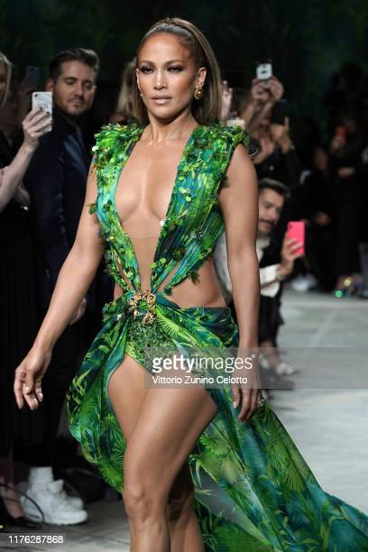 Jennifer Lopez walks the runway at the Versace show during the Milan Fashion Week Spring/Summer 2020 on September 20, 2019 in Milan, Italy.