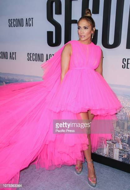 Jennifer Lopez wearing gown by Giambattista Valli attends premiere of 'Second Act' at Regal Union Square Theatre