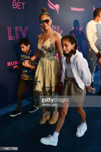 Jennifer Lopez with children Emme Maribel Muñiz and Maximilian David Muñiz at the 2020 Pegasus World Cup Championship Invitational Series at David...