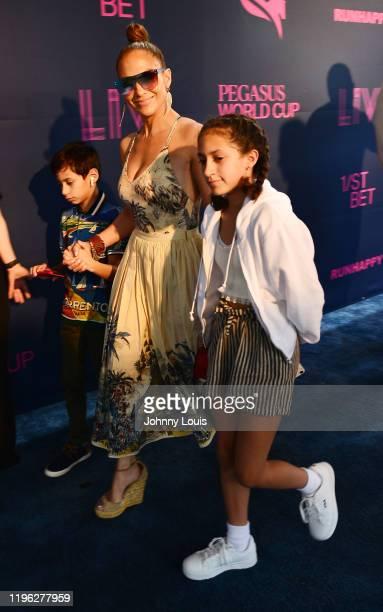 Jennifer Lopez with children Emme Maribel Muñiz and Maximilian David Muñiz at the 2020 Pegasus World Cup Championship Invitational Series at David...