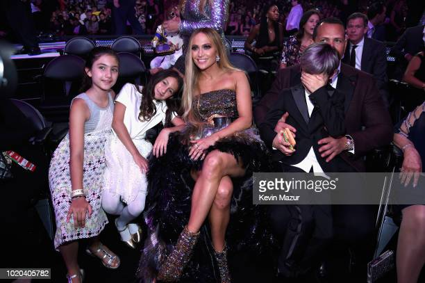 Jennifer Lopez with daughter Emme and Alex Rodriguez inside the 2018 MTV Video Music Awards at Radio City Music Hall on August 20 2018 in New York...