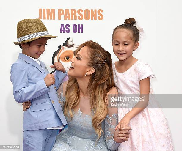 Jennifer Lopez with daughter Emme and son Max attend the premiere of Twentieth Century Fox And Dreamworks Animation's HOME at Regency Village Theatre...