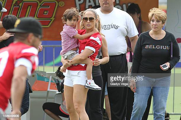 Jennifer Lopez with her son Max Muniz and her mother Guadalupe Rodriguez attend the PreConcert Celebrity Football Game Benefiting Hurricane Sandy...