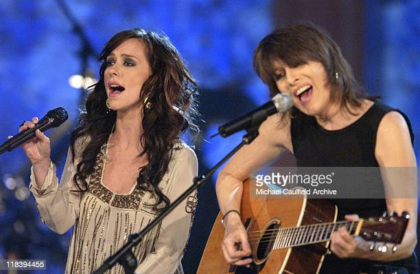 Jennifer Love Hewitt and Chrissie Hynde perform at 'Women Rock Girls and Guitars' airing on the Lifetime Television Network October 25th 2002 at 10 pm
