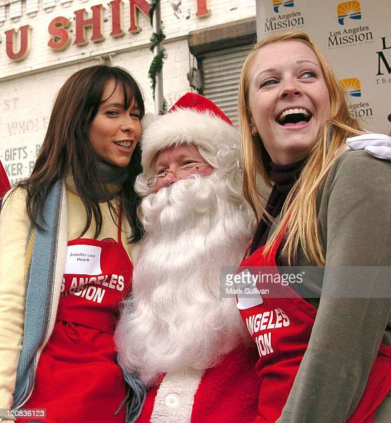 Jennifer Love Hewitt Santa and Melissa Joan Hart during Los Angeles Mission Christmas Party at Los Angeles Mission in Los Angeles California United...